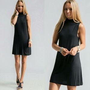 Mock Neck Black Sleeveless Stretch Dress New